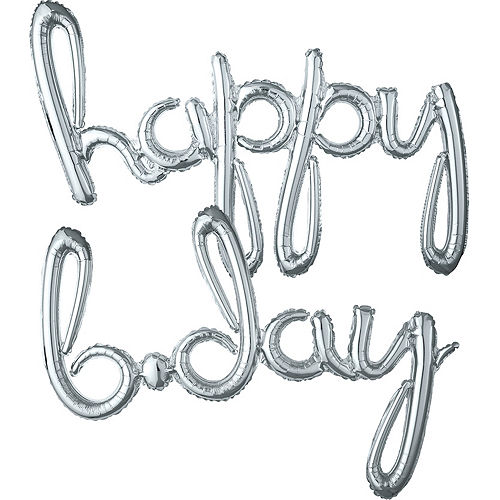 Air-Filled Silver Happy B-Day Cursive Letter Balloon Banners 2ct, 27in Image #1