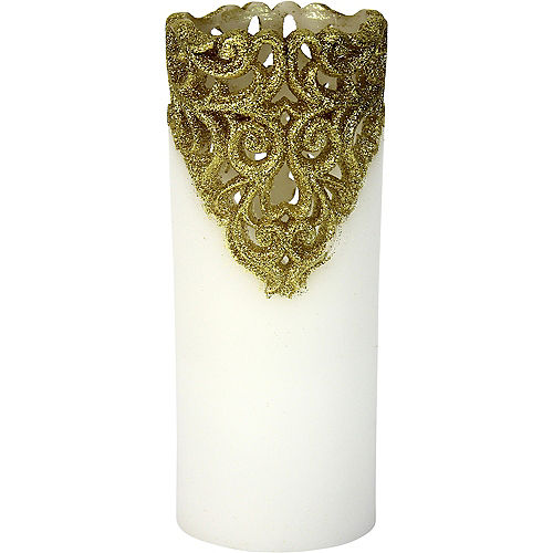Tall Gold Glitter Lace Pillar Flameless LED Candle Image #1