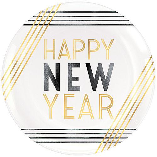 Black, Gold & White Happy New Year Plastic Dessert Plates 4ct Image #1