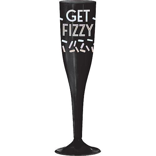 Black & Iridescent Get Fizzy Plastic Champagne Flutes 16ct Image #1