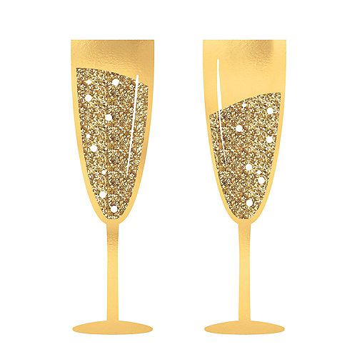 Glitter Gold Champagne Flute Photo Booth Props 2ct Image #1