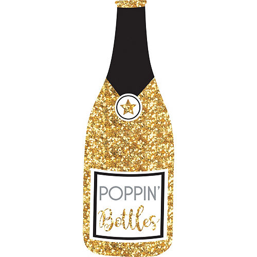 Giant Glitter Gold Champagne Bottle Photo Booth Prop Image #1