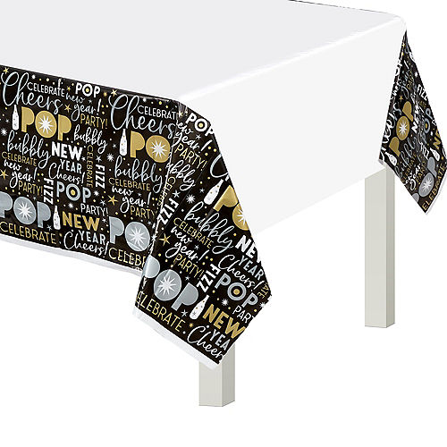 Black, Gold & Silver New Year's Eve Table Covers 3ct Image #1