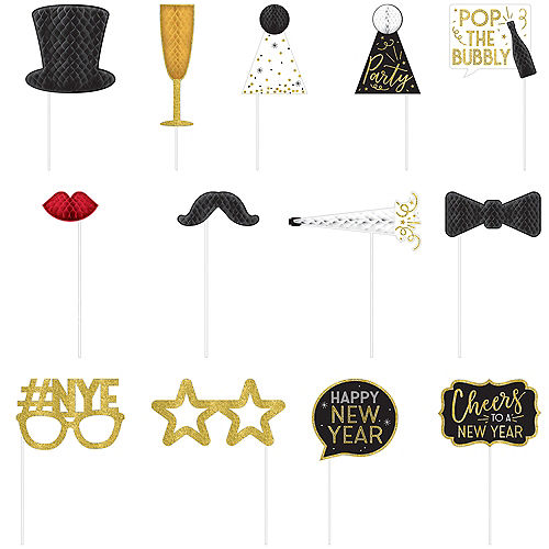 New Year's Eve Honeycomb Photo Booth Props 12ct Image #1