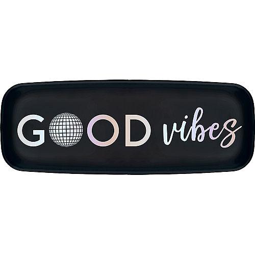 Black & Iridescent Good Vibes Rectangular Platter Image #1