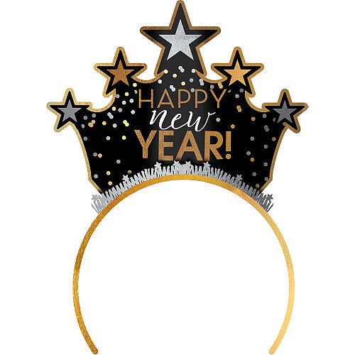 Black, Gold & Silver Happy New Year Tiara Headband Image #1