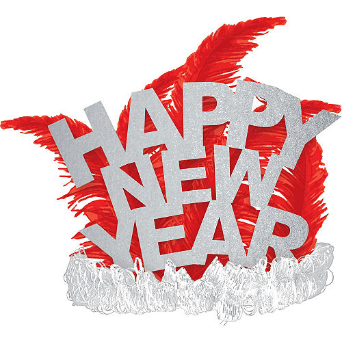 Red & Silver Happy New Year Feather Tiara Image #1