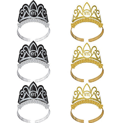 Glitter Black, Silver & Gold New Year's Eve Tiaras 6ct Image #1