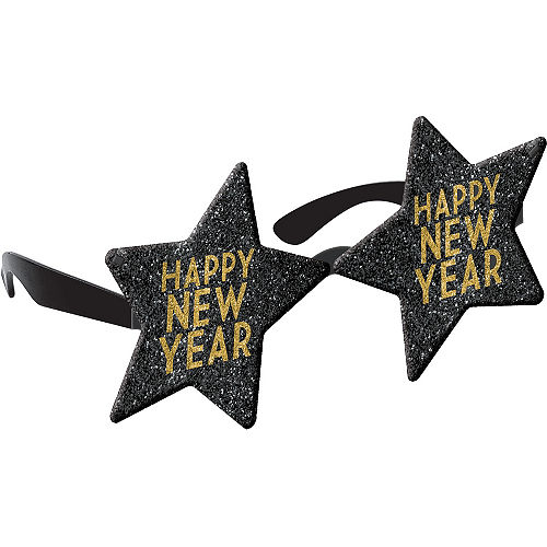 Black & Gold Happy New Year Star Flip Glasses Image #1