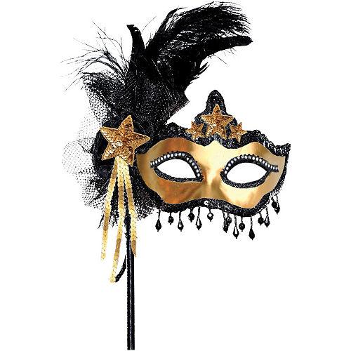 Black & Gold Venetian Masquerade Mask on a Stick Image #1