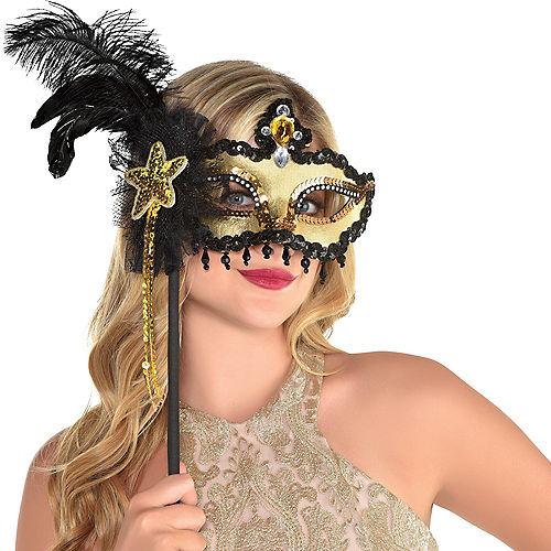 Black & Gold Venetian Masquerade Mask on a Stick Image #2