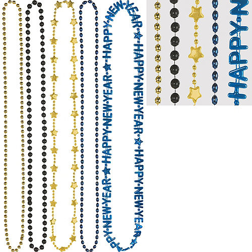 Black, Blue & Gold Happy New Year Bead Necklaces 5ct Image #1