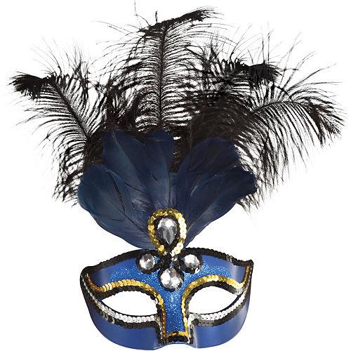Blue Feather Masquerade Mask Image #1