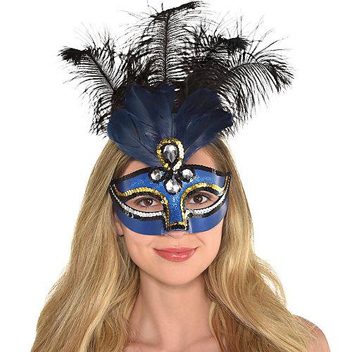 Blue Feather Masquerade Mask Image #2