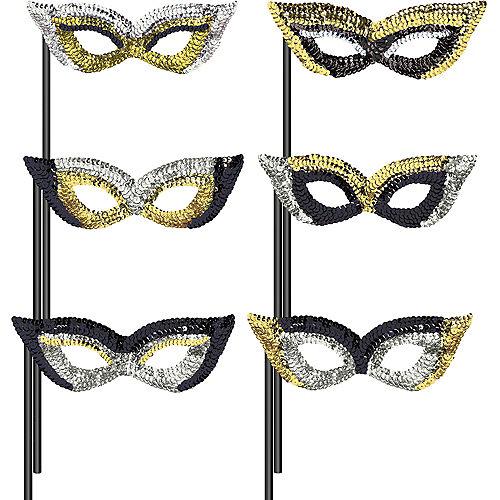 Black, Gold & Silver Masquerade Masks 6ct Image #1