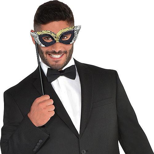 Black, Gold & Silver Masquerade Masks 6ct Image #3