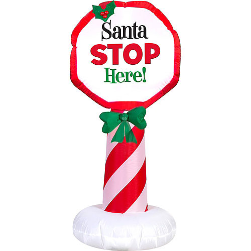 Light-Up Inflatable Santa Stop Here Sign Image #1