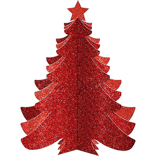 Glitter Red Christmas Tree Image #1