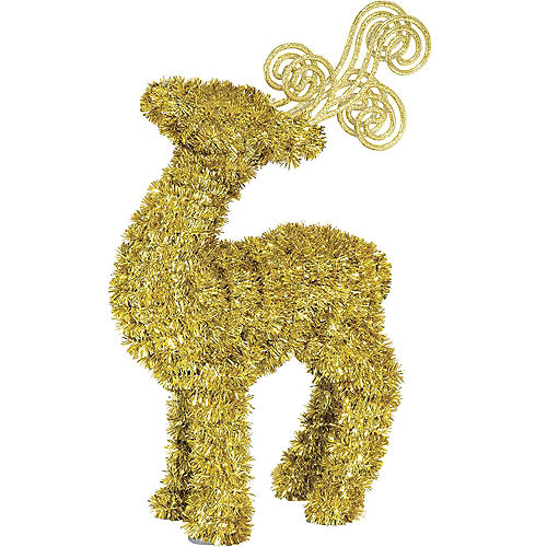 Gold Tinsel Reindeer Image #1
