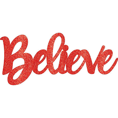 Glitter Red Believe Photo Booth Prop Image #1