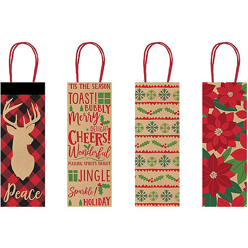 Holiday Tidings Kraft Bottle Bags 4ct Image #1