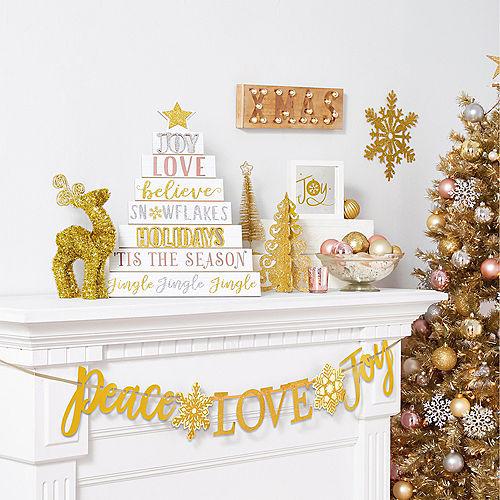 Glitter Gold Peace Love Joy Letter Banner Image #2