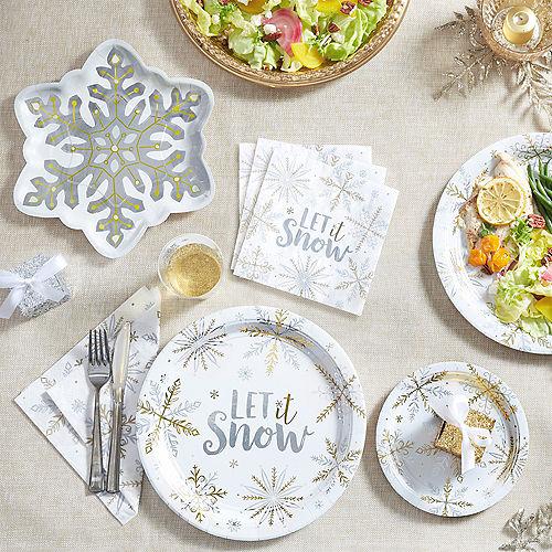 Metallic Sparkling Snowflake Dessert Plates 8ct Image #2