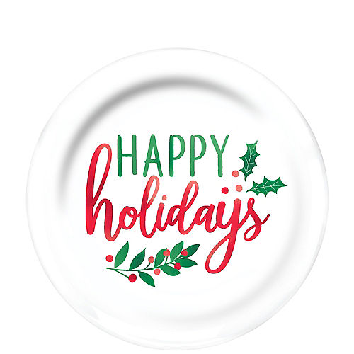 Christmas Holly Premium Plastic Lunch Plates 20ct Image #1