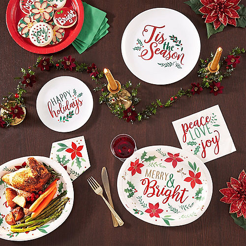 Christmas Holly Premium Plastic Lunch Plates 20ct Image #2