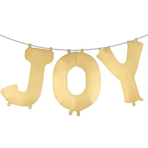 Air-Filled Gold Joy Letter Balloons 3pc Image #1