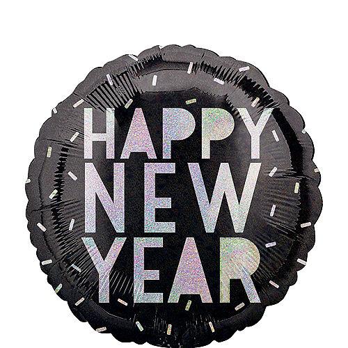 Black & Iridescent Happy New Year Balloon, 17in Image #1