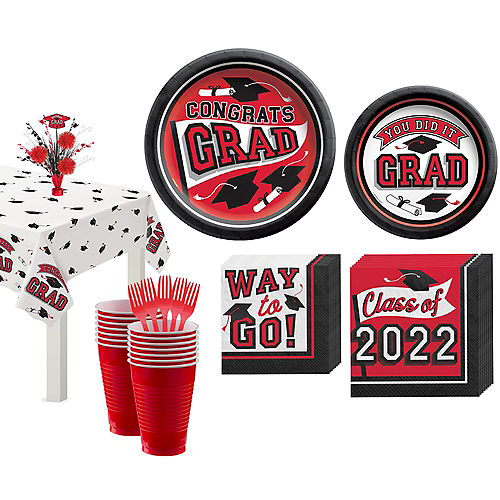 Congrats Grad Red Graduation Tableware Kit for 18 Guests Image #1