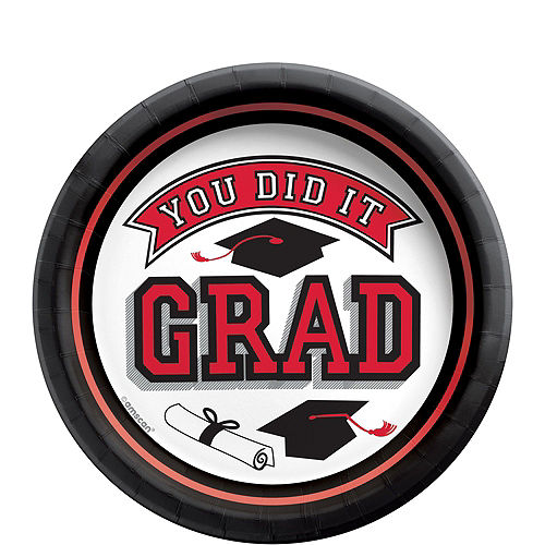 Congrats Grad Red Graduation Tableware Kit for 18 Guests Image #2