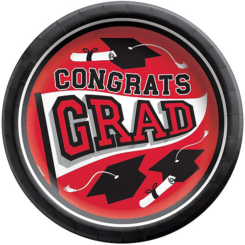 Congrats Grad Red Graduation Tableware Kit for 18 Guests Image #3