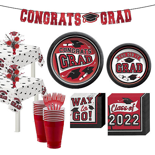 Congrats Grad Red Graduation Party Kit for 36 Guests Image #1