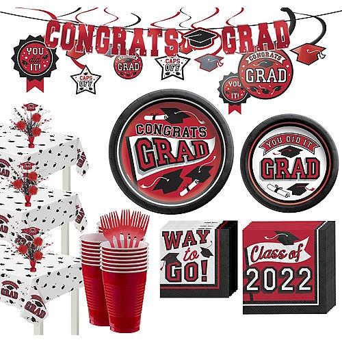 Super Congrats Grad Red Graduation Party Kit for 54 Guests Image #1