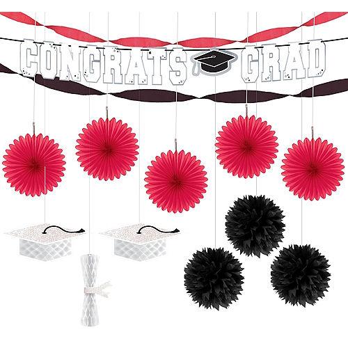 Congrats Grad Red Graduation Hanging Decorations Kit Image #1