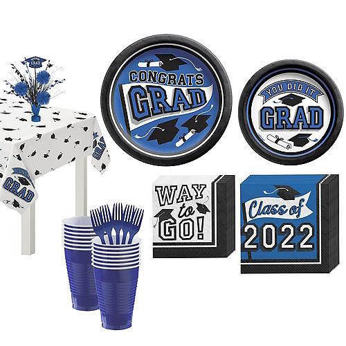 Congrats Grad Blue Graduation Tableware Kit for 18 Guests Image #1