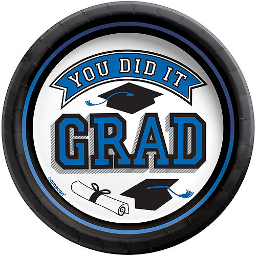Congrats Grad Blue Graduation Tableware Kit for 18 Guests Image #2