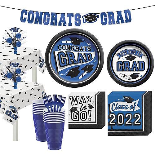 Congrats Grad Blue Graduation Party Kit for 36 Guests Image #1