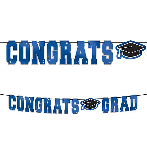 Congrats Grad Blue Graduation Party Kit for 36 Guests Image #9