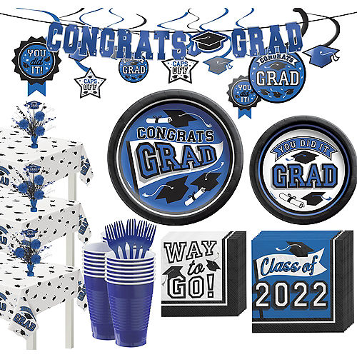 Super Congrats Grad Blue Graduation Party Kit for 54 Guests Image #1