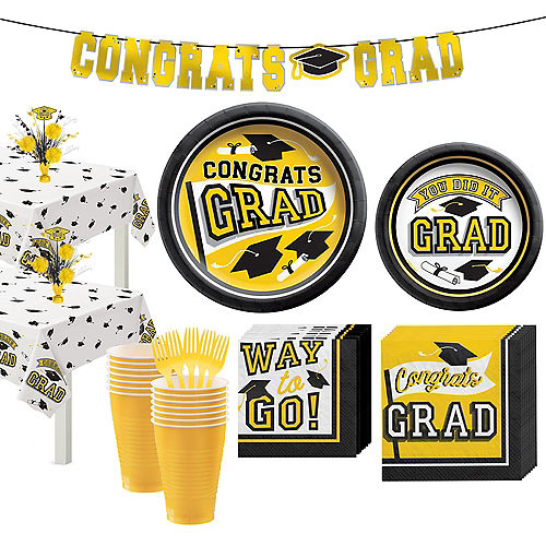 Congrats Grad Yellow Graduation Party Kit for 36 Guests Image #1