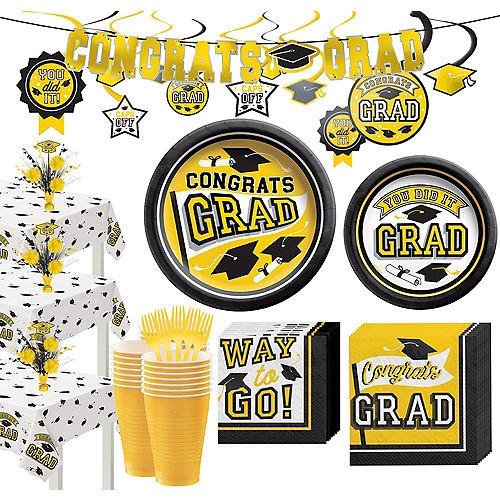 Super Congrats Grad Yellow Graduation Party Kit for 54 Guests Image #1
