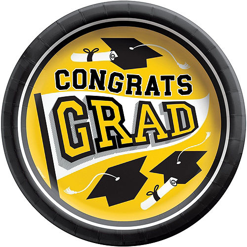 Super Congrats Grad Yellow Graduation Party Kit for 54 Guests Image #3