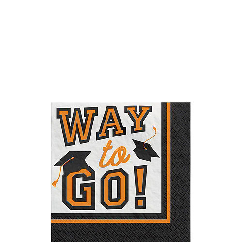 Congrats Grad Orange Graduation Tableware Kit for 18 Guests Image #4