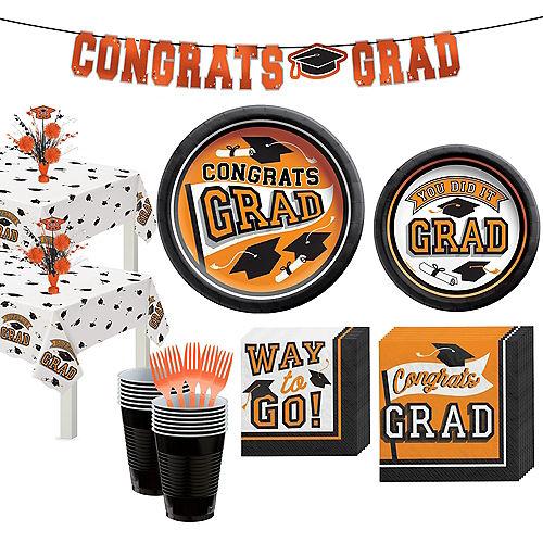 Congrats Grad Orange Graduation Party Kit for 36 Guests Image #1