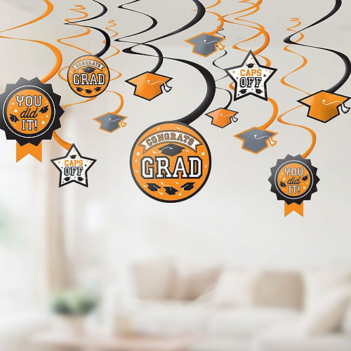 Super Congrats Grad Orange Graduation Party Kit for 54 Guests Image #8