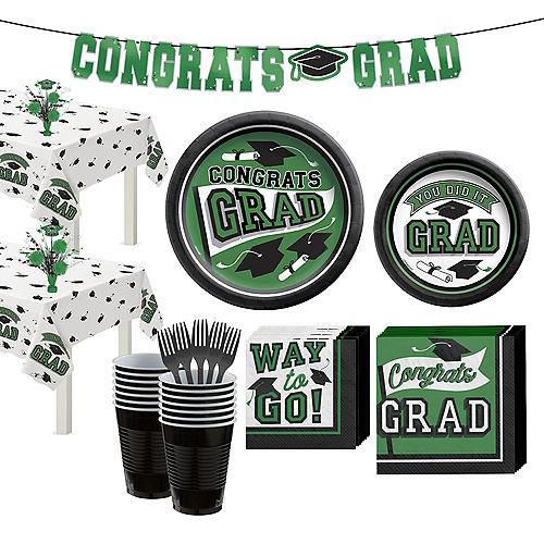 Congrats Grad Green Graduation Party Kit for 36 Guests Image #1