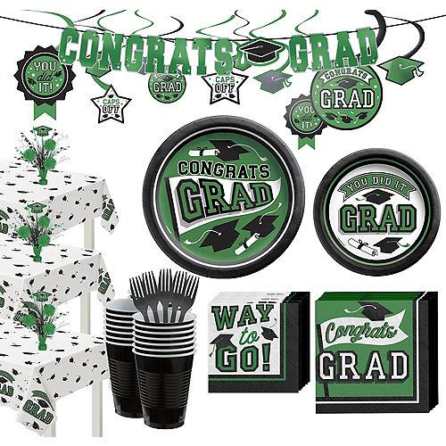 Super Congrats Grad Green Graduation Party Kit for 54 Guests Image #1